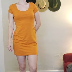 Orange fitted t-shirt dress